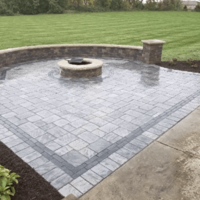Schiller Park Landscaping with Custom Brick Fire Pit and Retaining Wall